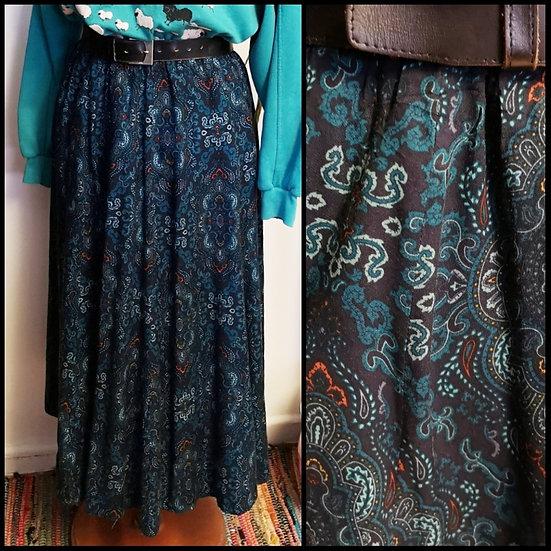 Vintage 80's Blue Paisley Print Midi Skirt Stretch Wiats Size S/M