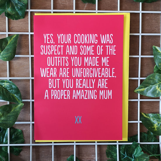 'Some of the Outfits were Unforgiveable' Mother's Day Card