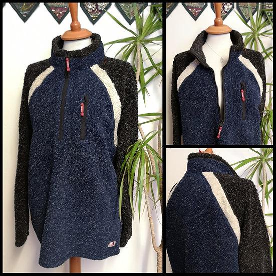Vintage 90's Tri-Colour Fleece with High Zip Collar Size XL