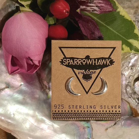 Sterling Silver Big Moon Ear Studs