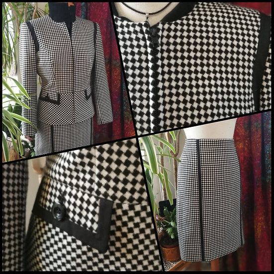 Vintage 90's Two-Piece Suit Checkerboard Co-Ord Size 12
