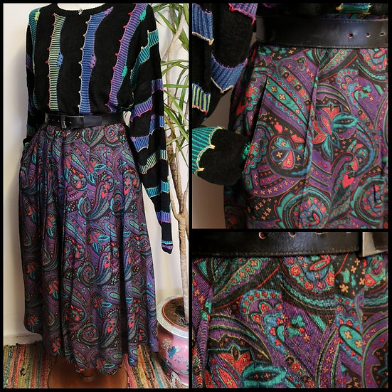 Vintage 80's Paisley Midi Skirt with Pockets Size 10/12