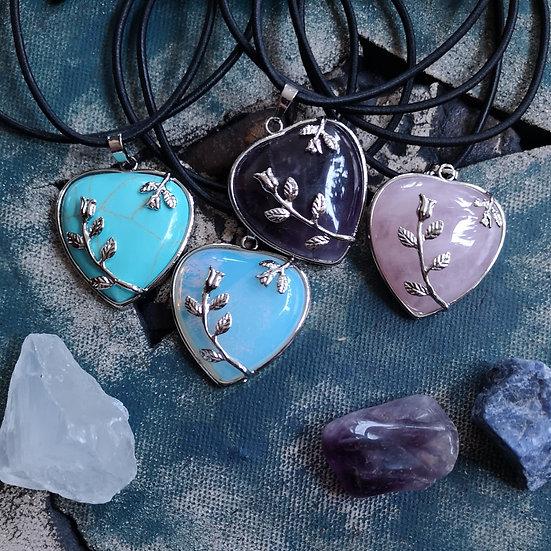 Gemstone Floral Heart Pendant Stretchy Choker (Choose Gemstone)