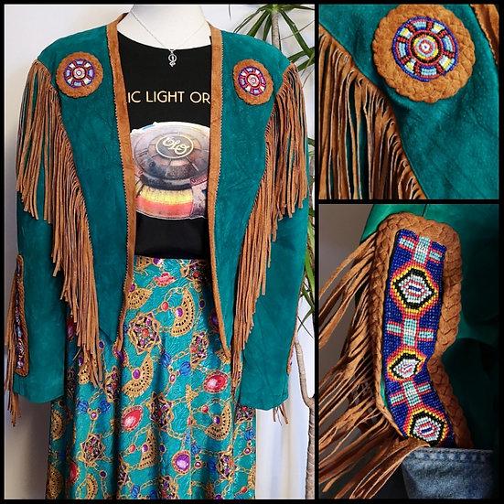 Vintage 80'sNative American Western Suede Fringed Jacket Size S/M