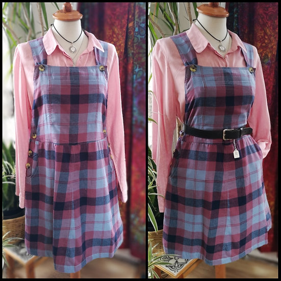 VARIOUS COLOURS New Fairtrade Brushed Cotton Checked Pinafore Dungaree Dress