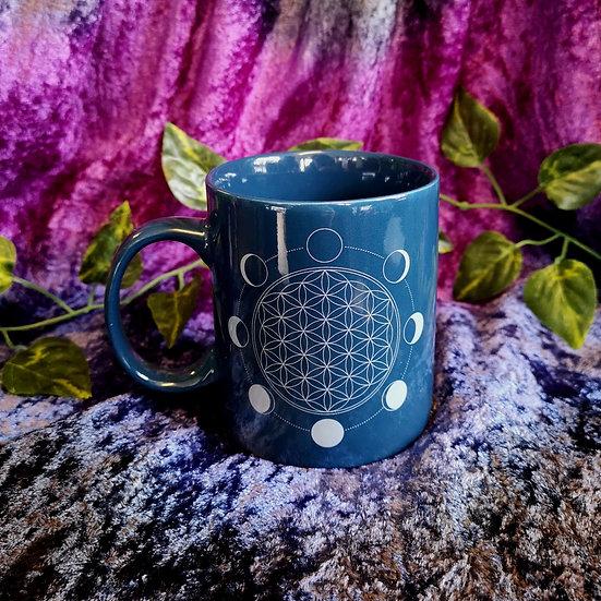Flower of Life and Moon Phases Ceramic Mug -Blue