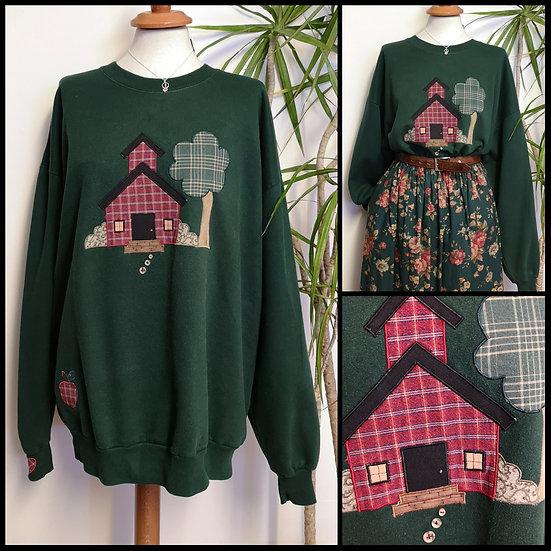 Vintage 90's Patchwork Embroidered Sweatshirt Size XL/XXL