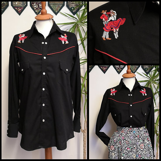 Vintage 90's Western Line Dance Embroidered Shirt UNISEX Size S/M