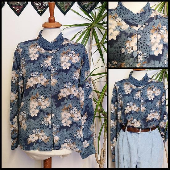 Vintage 80's/90's Floral & Leopard Print Blouse Size S/M
