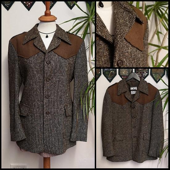 Vintage 70's Wool Tweed Jacket Blazer Size M