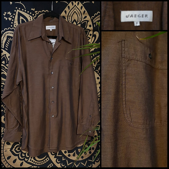 Vintage 90's Jaeger Two-Tone Cotton Shirt Size M/L