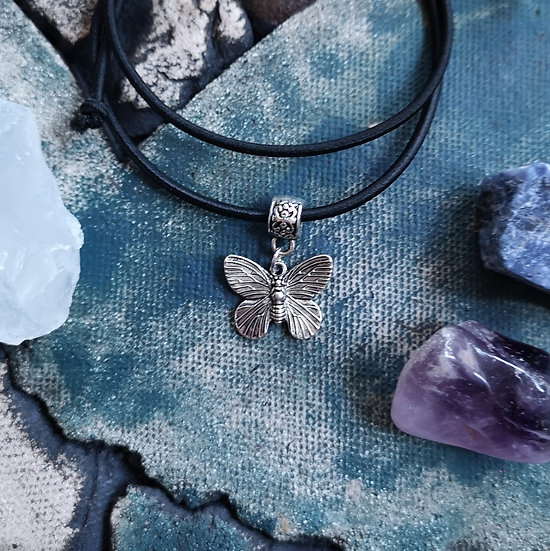 Silver Plated Butterfly Charm on Stretchy Choker