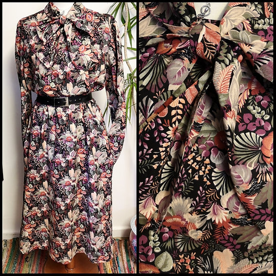 Vintage 70's/80's Floral Tunic Pussycat Bow Dress Size M/L