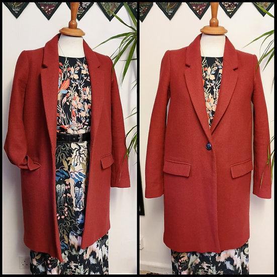 Retro Style Zara Trafaluc Wool Mix Coat Jacket Size S