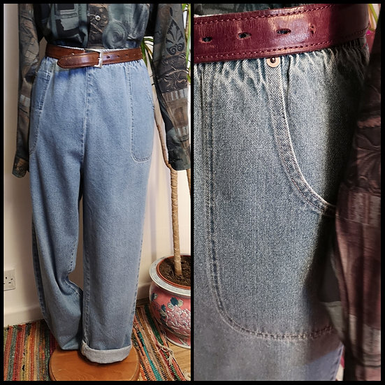 Vintage 80's/90's Elasticated High-Waist Jeans Light Denim Size M/L