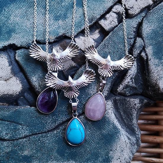 "Gemstone Teardrop Hawk Necklace Cable Chain 24"" (Choose Gemstone)"