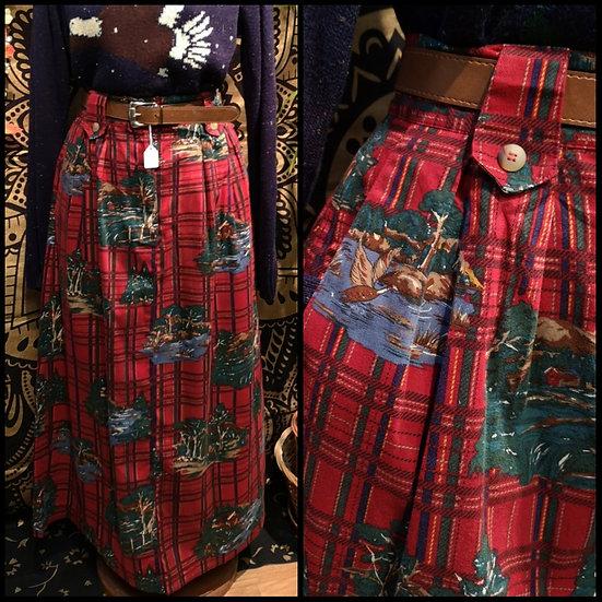 Vintage 80's / 90's Tartan Winter Woodland PrintMidi Skirt Size S/M