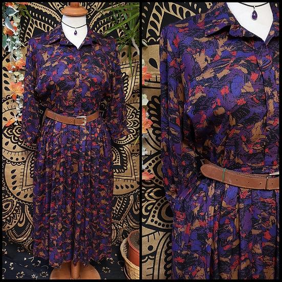 Vintage 80's Abstract Print Midi Shirt Dress Size S/M