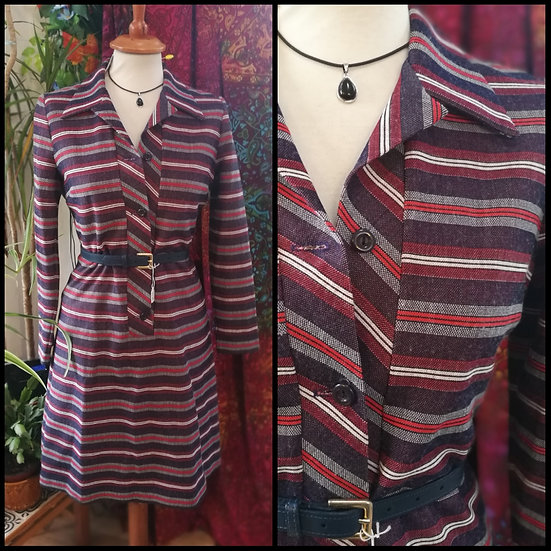 Vintage 70's Striped Shift Shirt Dress Size S/M