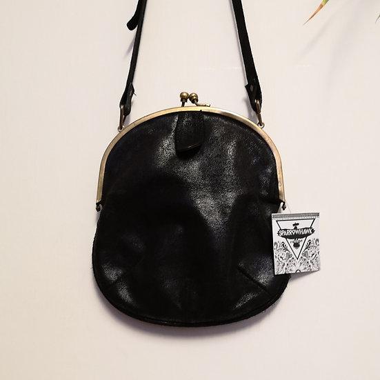 Retro 'Soft Grey' Real Leather Purse Style Cross-Body Handbag