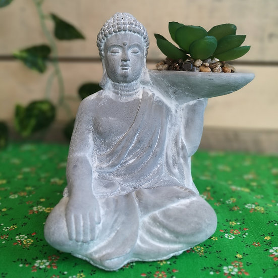 Small Concrete Buddha Ornament with Fake Succulent
