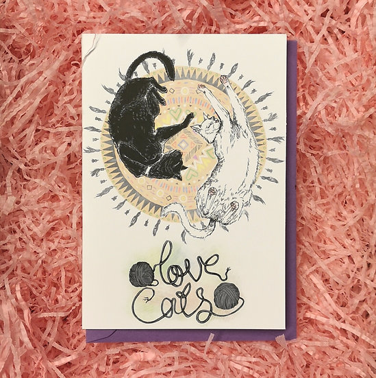 'Love Cats' Illustrated Valentine's Card A6