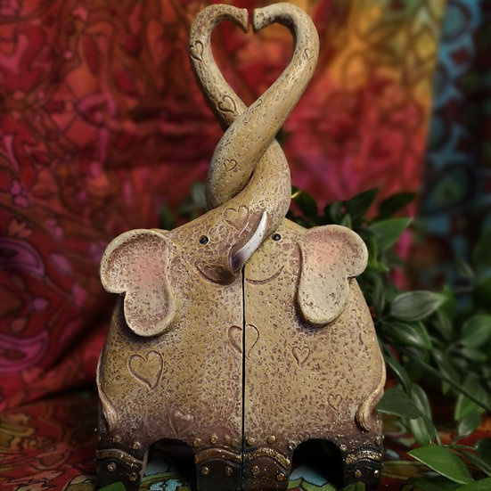 Love Heart Elephant Couple Interlocking Ornament