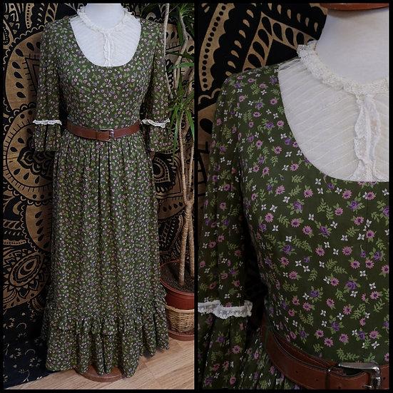 Vintage 70's Handmade Floral Ditsy Print Prairie Dress Size S/M