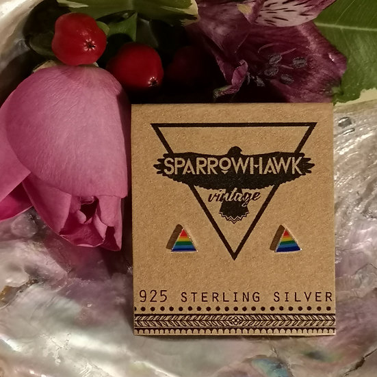 Sterling Silver Enamel Rainbow Triangle Ear Studs