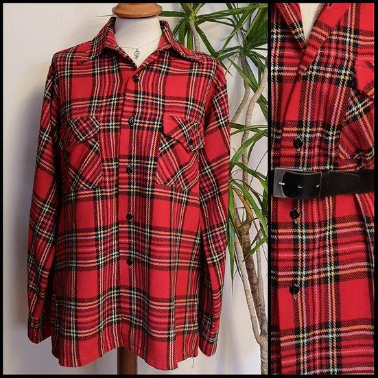 Vintage 80's Tartan Checked Punk Shirt Unisex Size M