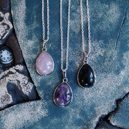 """Small Gemstone Teardrop Pendant Necklace Cable Chain 18"""" (Choose Gemstone))"""