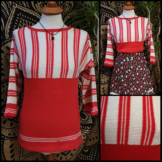 Vintage 70's Home Machine KnittedStriped Jumper Top Size S