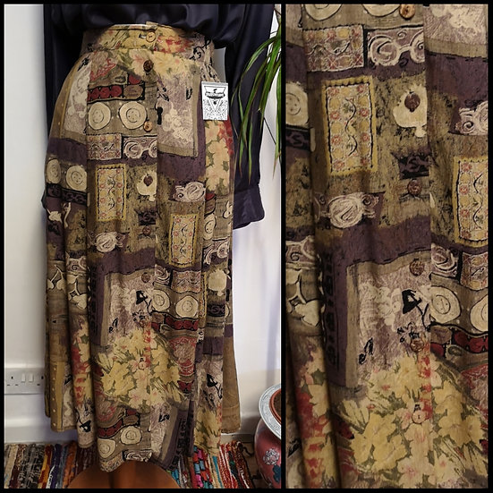 Vintage 90's Mixed AbstractPrint Midi Skirt Size M