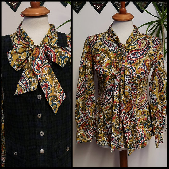 Vintage 90's / 00's Fitted Paisley Pussycat Blouse Size S