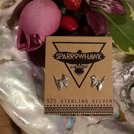 Sterling Silver Origami Cat Ear Studs