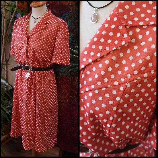 Vintage 70's Handmade Orange Polka-Dot Size M/L