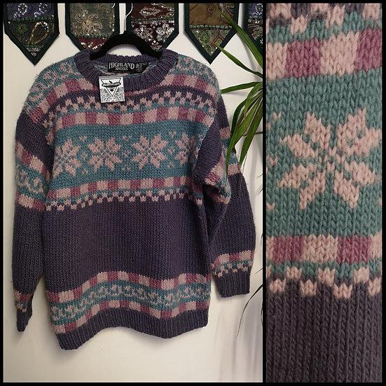 Vintage 80's Pure Wool Fairisle Nordic Jumper Size M