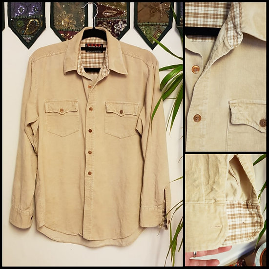 Vintage 90's Cream Cord Cotton Shirt Size S/M