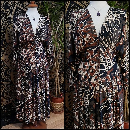 Vintage 80's Abstract Animal Print Batwing Midi Dress Size M