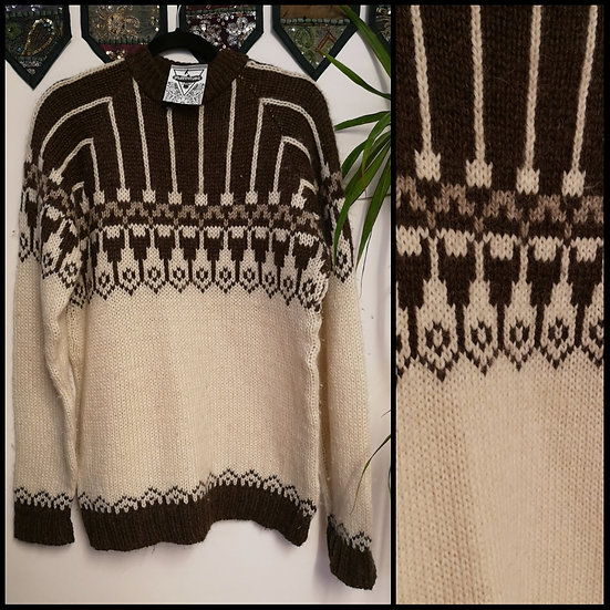 Vintage 70's Pure New Wool Icelandic Knit Jumper Size M