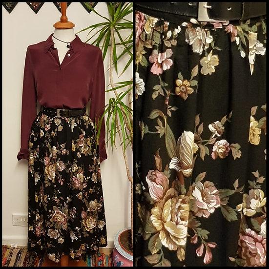 Vintage 90's US Floral Bloom Midi Skirt Size S/M