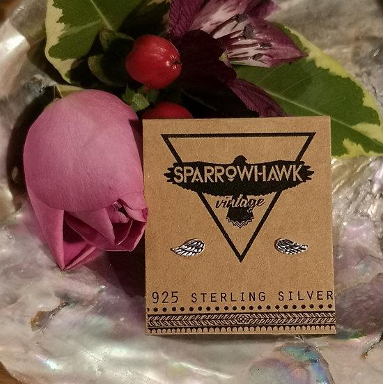 Sterling Silver Angel Wings Ear Studs