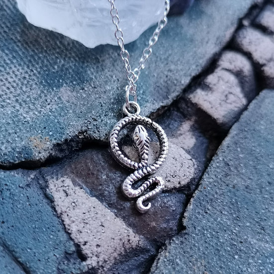 Silver Plated Snake Charm Necklace Cable Chain 16""