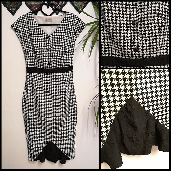 Retro Pin-Up Style Lindy Bop Dogtooth Wiggle Dress Size S