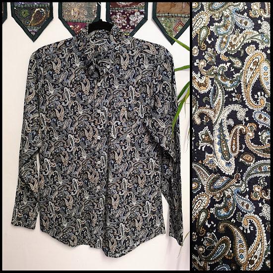 Vintage 90's Paisley Print Shirt Size S/M