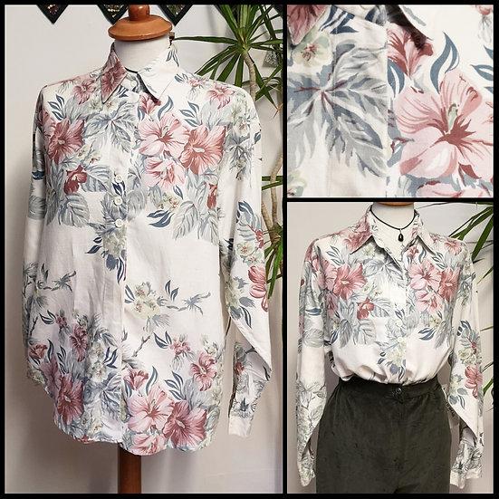 Vintage 80's/90's Pastel Floral Print Shirt Blouse Size M