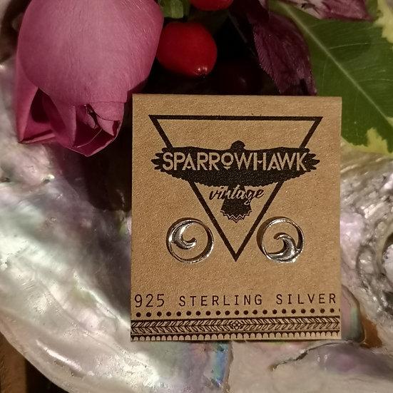 Sterling Silver Wave Ear Studs