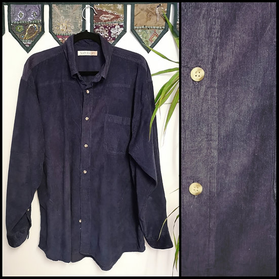 Vintage 90's Navy 100% Cotton Cord Shirt Size XXL