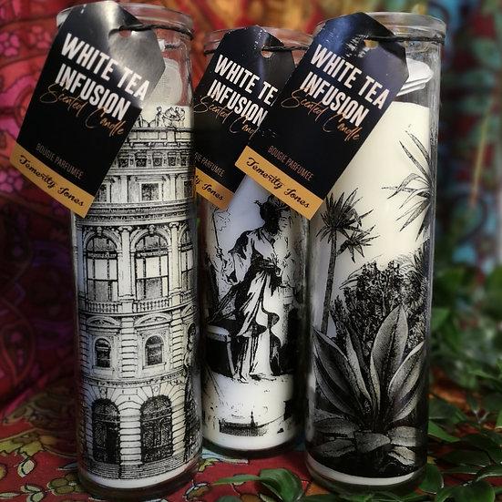 Decorative Tall Glass Jar Candle - White Tea Fusion - Choose Design