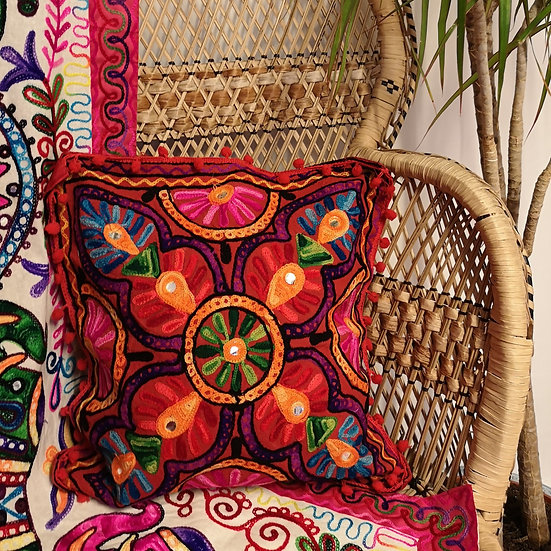 Fairtrade Colourful Embroidered Boho Cushion Cover - Red